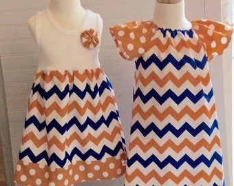 SiSTER SET for UF.   girls tank style dress with coordinating flutter sleeve Phoebe...many sizes!