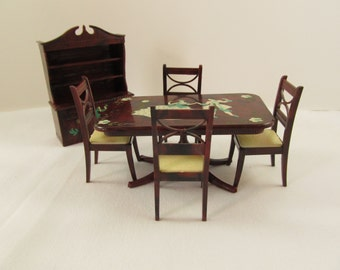 Renwal 1940s Cinderella and Prince Charming Dining Room Set, Renwal 7 Piece Cinderella Prince Charming Painted Dining Room Table and Hutch