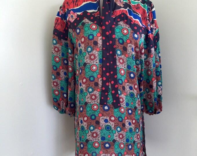 Vintage 1980's Diane Freis Tunic Blouse Bold Funky Print