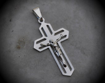 Genuine Solid Sterling Silver Crucifix Pendant Code 1031