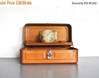 ON SALE Vintage Rust Orange Toolbox - My Buddy Industrial Storage Box
