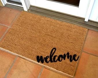 WELCOME CORNER COIR Doormat  ... Hand Painted on a Coir Mat
