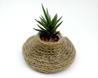 Plant Pot Holder, Jute Crocheted Plant Basket, Primitive Decor, Natural Jute Decor