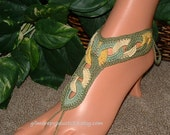 Beach Crochet Barefoot Sandals, Anklet, Foot Jewelry, Bridal Sandals, Slave Bracelet Ring, Crochet Bracelet, gilmoreproducts33