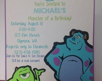 Monsters, Inc. Invitations- Birthday, Party, Shower, Announcement