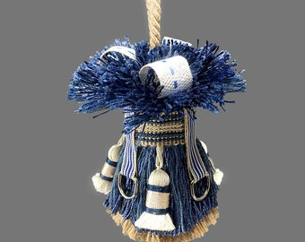 Small Preppy Accent Tassel - Home Decor Tassel - Navy Decorator Tassel - Blue Key Tassel - Pinstripe Accent Tassel - Blue and Tan Tassel