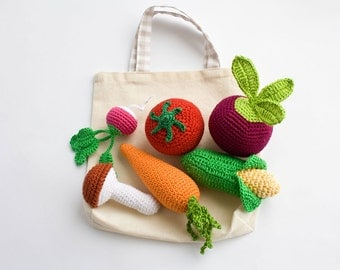 Crochet Veggies with Tote, Rattles, Set of 6 - beet, corn, radish, tomato, carrot, mushroom - play food - FrejaToys