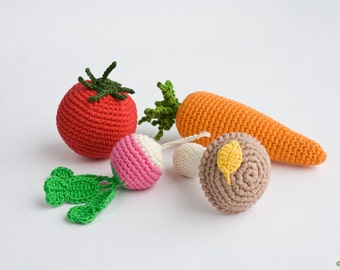 ORGANIC Crochet Baby Rattles Veggies, Set of 4 - radish, tomato, carrot, mushroom - eco-friendly crochet play food - FrejaToys