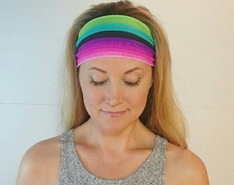 Neon Yoga headband  Jersey spandex womens hair accessories gift for her