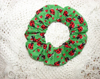 Ladybugs on Green Fabric Handmade Hair Scrunchie, womans scrunchies,  women's accessories, insects bugs flies, girls hair ties, summer