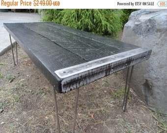 Last Chance Sale 15% OFF. Black Stained Industrial Coffee Table from old barnwood with hairpin legs