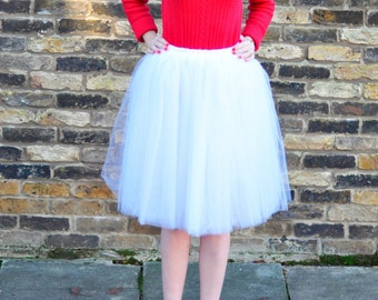 Clarisa - White Tulle Skirt, Bridal Skirt, Puffy Tulle Skirt, Adult Princess Tutu, Midi Tutu, Plus Size Tutu, Wholesale