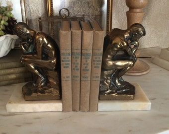 Vintage The Thinker Bookends Brass and Marble Bookends