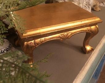 Vintage Italian Florentine Footstool Gilt Wood Display Pedestal Gilt Wood Footstool