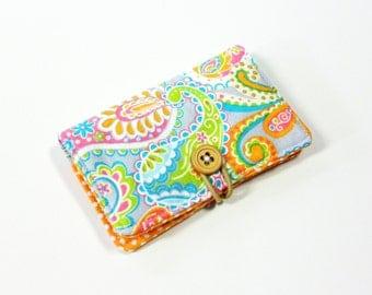 Orange Pink Teal Paisley Fabric Business Card Holder, with Orange White Mini Dot - Credit Card Holder, Cloth Card Holder, Gift Card Holder