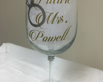 Future Mrs. wine glass