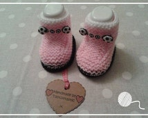 1 Pair Knitted Pink Football Baby Booties and Gift Box - Girl - 0-3 months size only - Made by Tootsietastic - READY TO SHIP