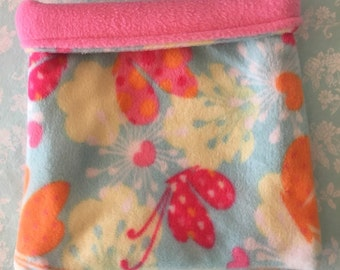 Blue Floral and Butterfly Fleece with Pink Fleece Snuggle Bag