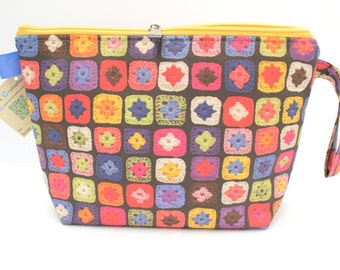 Granny Squares blanket. Large Clutch zipper bag, Knitting bag great for hexipuffs. Knitting Project Bag, Crochet Project Bag.