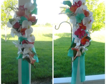 Beach Wedding Arch Arrangements in Guava, Coral, Fuchsia  Aqua and White with Real Touch Plumeria,  Calla Lilies and Orchids