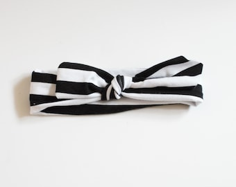 Black and White Stripes, Knotted Headband, Knotted Headband, Augie and Lola Headband, Black and White Headband, Newborn Headband