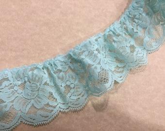 1 yard of 2 1/2 inch Mint Blue Ruffled Chantilly lace trim for garter, wedding, bridal, lingerie, spring by MarlenesAttic - Item 7K