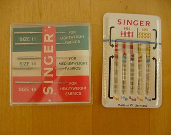 2 VINTAGE Packages Singer Sewing Machine Needles, Made in W. Germany, Various Sizes