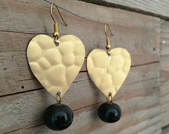 golden heart earrings with handblown by me black glass beads