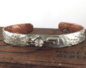 Follow your Arrow Jewelry, Soldered Pewter and Copper Arrow Bracelet with Large Rhinestone, Forged Copper Cuff Bracelet, Kyleemae Designs