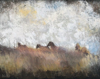 Running Free - Fine Art Print - Earthy Brown, Gray, Yellow, Buff