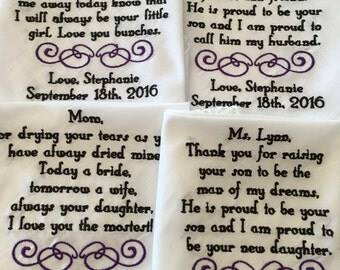 4 Custom Special Occasion Machine Embroidered Handkerchiefs for wedding
