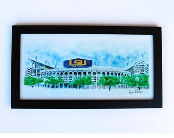 lsu football Art Print 10x20 University of Louisiana State University  LSU graduation gift