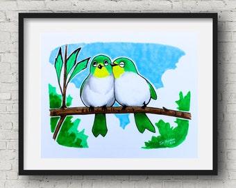 "Wall Art baby birds , Baby Nursery, Animals, baby birds , Wall Art , Wall Decor birds Nursery Prints 11""x14"""