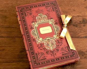 Custom Wedding Guestbook with Ribbon, Personalized Guestbook, Scrapbook Upgrade, Honeymoon Journal, Elegant Guestbook, Medium