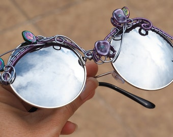 Boho sunglasses/Hippie glasses/Wire wrapped glasses/Festival sunglasses/Silver sunglasses/eyewear/Wearable art/Fashion/Gift for her