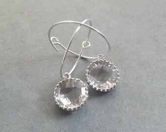 Sterling Silver Hoop Earrings. Glass Silver Earrings. Dangle Delicate. Dainty Earrings Christmas Gift. Winter Jewelry