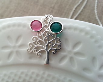 Tree of Life Necklace, Birthstone Necklace, Sterling Silver Necklace, Family Tree Charm, Sterling Silver Tree, Tree Pendant