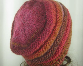 Hand Knit Hot Salsa Tones Beanie - Soft Hat - Women's Light Weight Slouchy Hat  - Comfortable Accessory