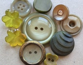 vintage sage, chartruese, and olive green vintage eco friendly distressed buttons--mixed lot of 10