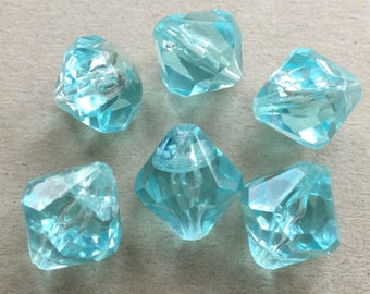 bicone eco friendly icy aqua blue acrylic beads--matching lot of 6