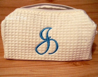 Monogrammed Cosmetic Bag. Waffle Weave Bag. Bridesmaid Gifts. Travel Bag. Personalized Gifts for Women. Washable.  Travel Bag.
