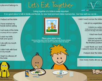 Children's Placemat - Let's Eat Together Activity Placemat (3 yrs+) Large - 11 x 18 inches