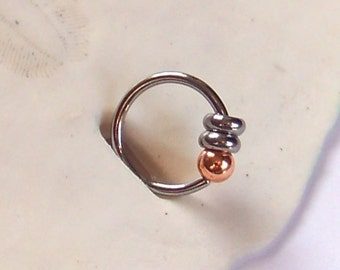Captive Bead Ring - 18 or 16 Gauge - Choose Size - Copper Bead on Surgical Steel Ring - CBR - Tragus - Cartilage - Helix - Daith - Rook