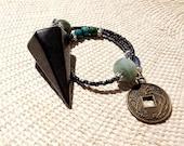 Shungite Pendulum w kyanite, amazonite, Chinese turquoise, azurite/malachite/chrysocolla beads