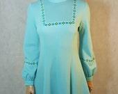 60s/70s Vintage Blue Floral Trim Mod Mini Dress.