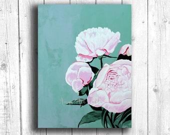 Pink Peonies Painting, Digital download, Printable original art, Digital 8x10 art printable