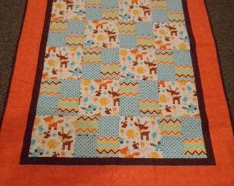 Crib size quilt/ nursery bedding/toddler quilt/ woodland Animal baby quilt/ baby quilt/ Animal print baby quilt/ Chevron/ Dots