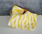 Yellow Spa Set, Crochet Spa Cloth, Cotton Wash Cloth Set, Crocheted Homegoods, Eco Friendly Spa Cloth, Bathroom Spa Cloth, Set of 2