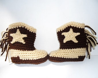 Baby Cowboy Boots Booties Country Western Assorted Sizes Handmade Crochet