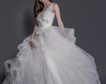 custom made tulle and lace v neck ball gown wedding dress
